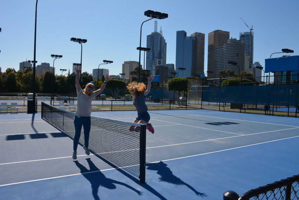 Playing on the Australian Open courts