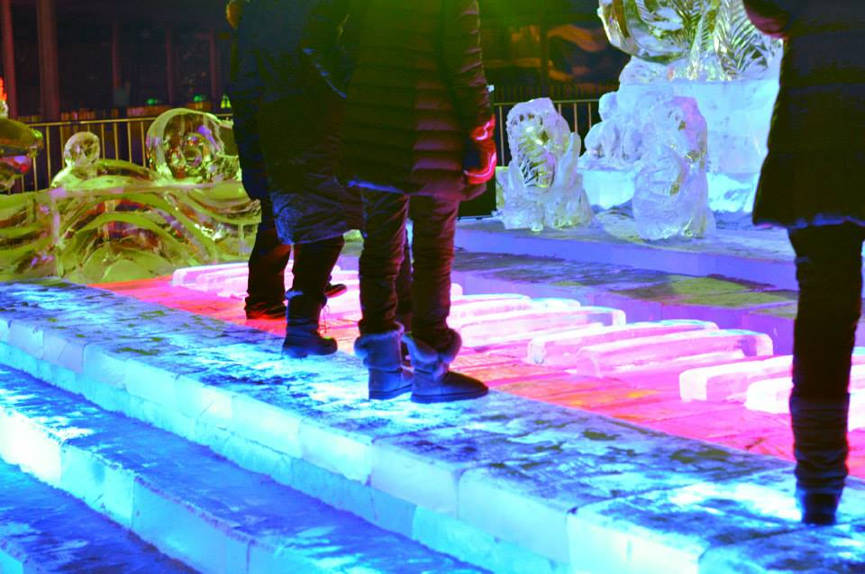Playing the ice piano in Harbin