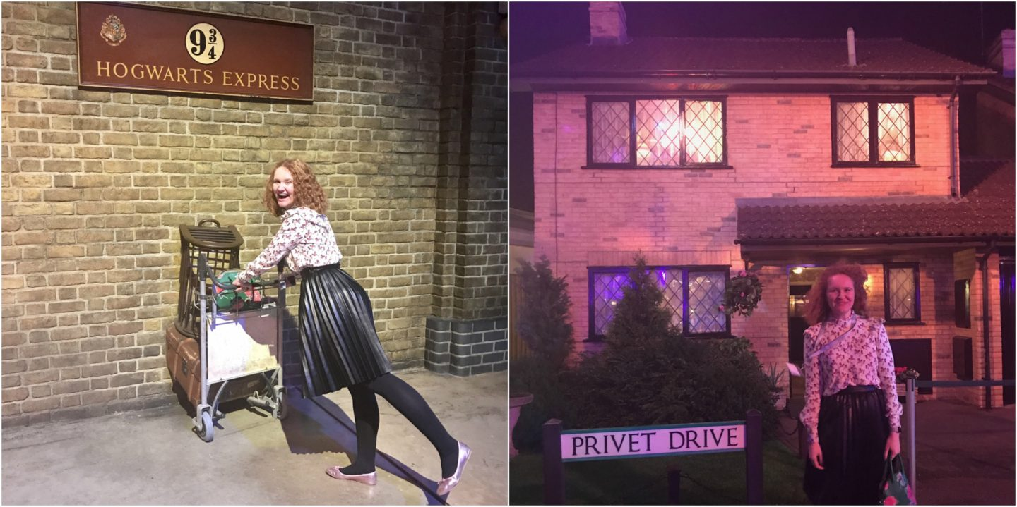 Sophie going to the Hogwarts Express and outside Privet Drive in London