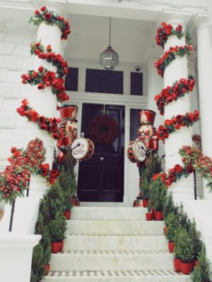 Christmas decorations outside houses in the Boltons