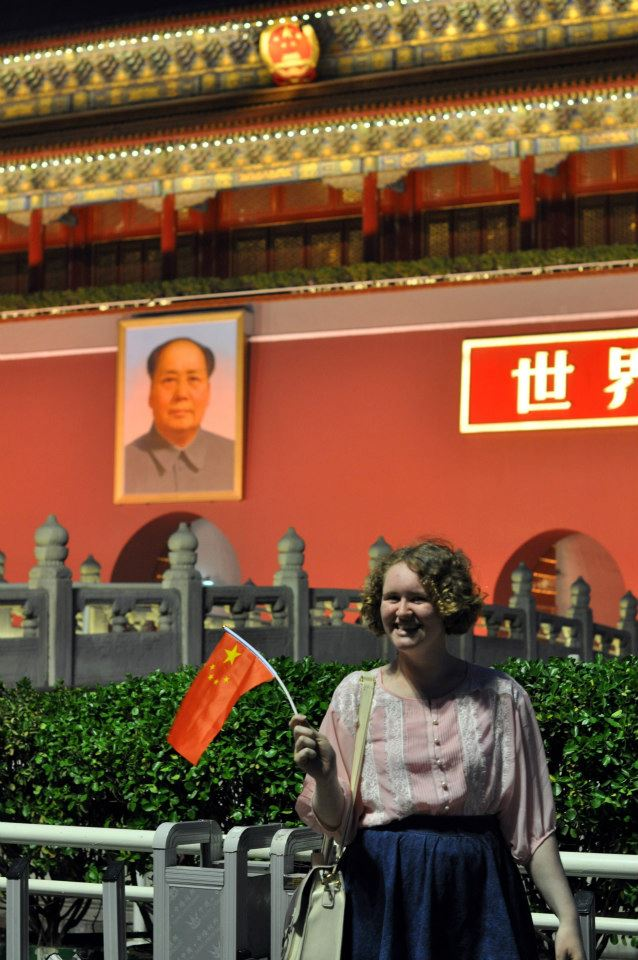 Sophie outside Tiananmen Square