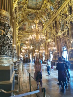 Sophie and crowds at the Opera Garnier Paris