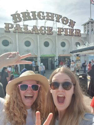 Brighton Pier and Sophie with friend