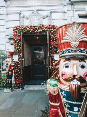Christmas decorations outside The Ivy in Covent Garden
