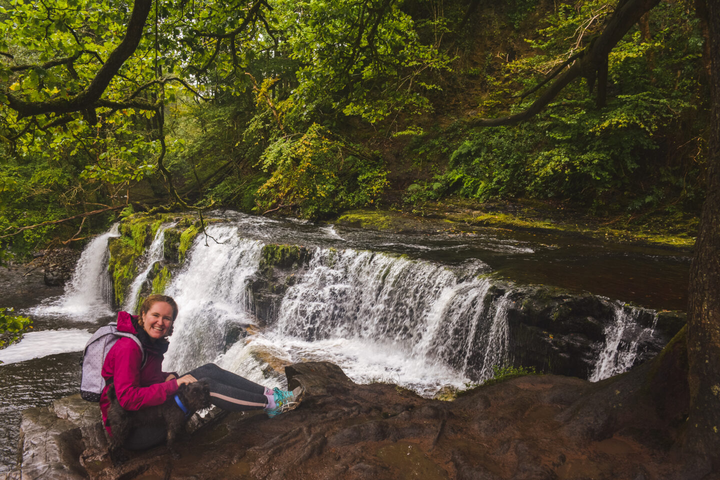 Sophie and Henry the dog at the Brecon Beacons waterfalls