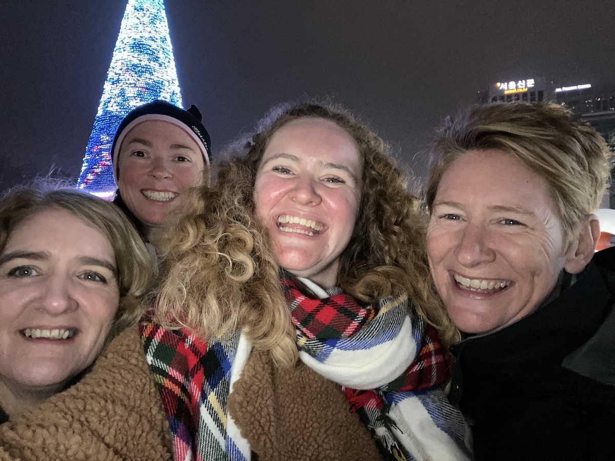 Sophie and her family in Seoul